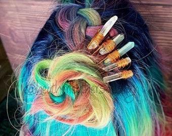 Crystal Hair Pins, Set of two crystal hairpins, Quartz Hairpins, gift for her, mermaid pins, bridal accessory, boho outfit, crystal bun pins