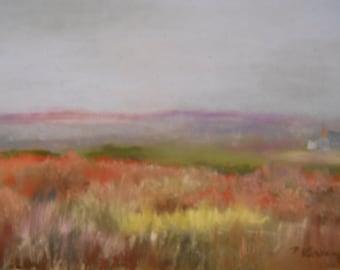Lubec Cottage Meadow Original Pastel Painting