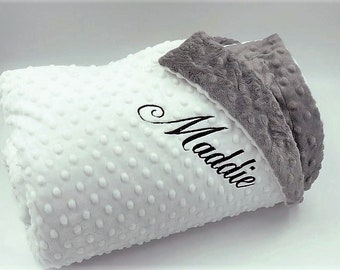 Throw Size 40x58 Minky Dot Adult Throw Blanket with Monogram Dorm Throw Teen Blanket
