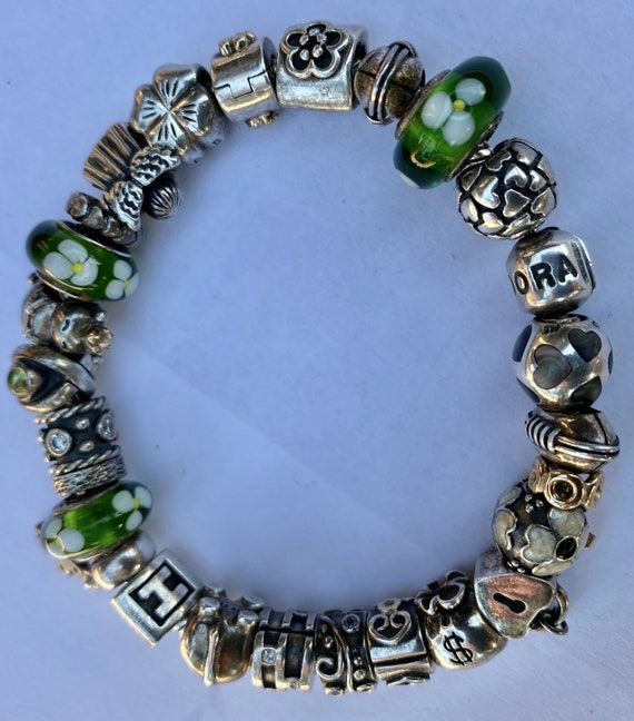 Pandora Sterling & 14K Charm Bracelet 26 Charms Re