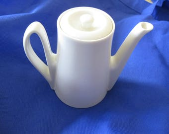Individual Single Serve Coffee Pot Teapot White Vintage Mid Century Kitchen Decor