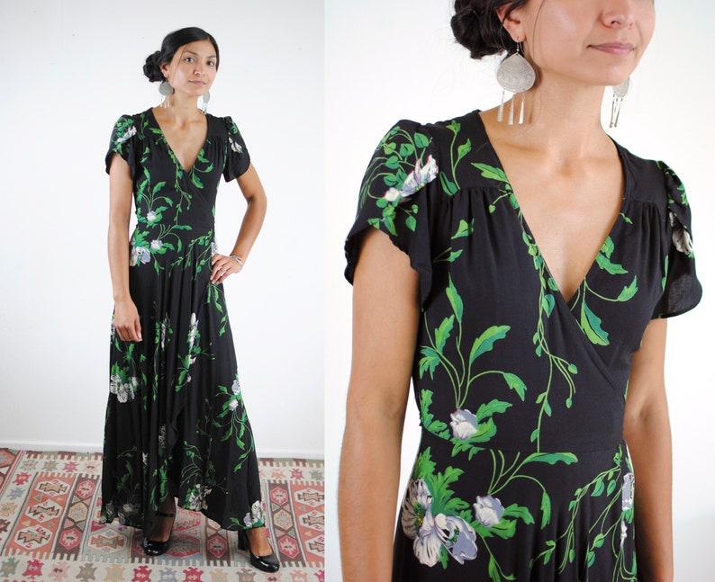 974b6ec8146ec 70s Malibu Media long floral wrap dress black flutter sleeves   Etsy