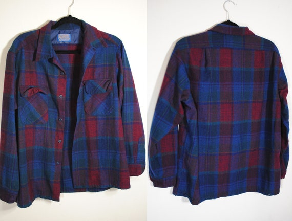 Vintage Pendleton plaid button up flannel wool 60s
