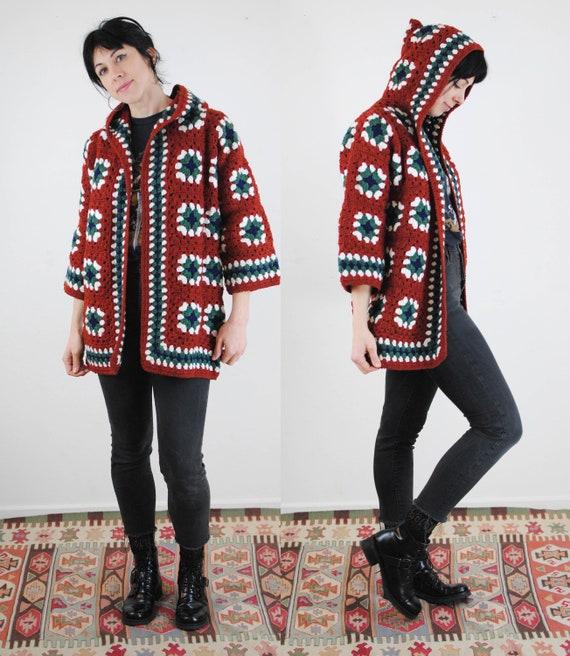 Afghan blanket granny square knit crochet coat jac