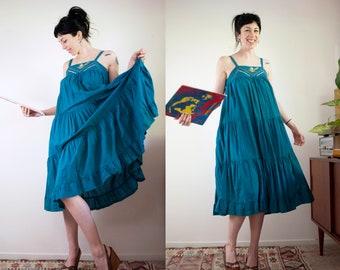 Her Excellency Indian cotton teal hippie summer dress needlepoint bust tiered sleeveless sundress
