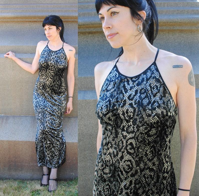 c30a72b862f 90s velvet python cobra snake print long maxi dress sleeveless   Etsy