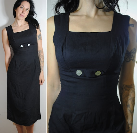 40s 50s sleeveless linen dress middle metal zip ba
