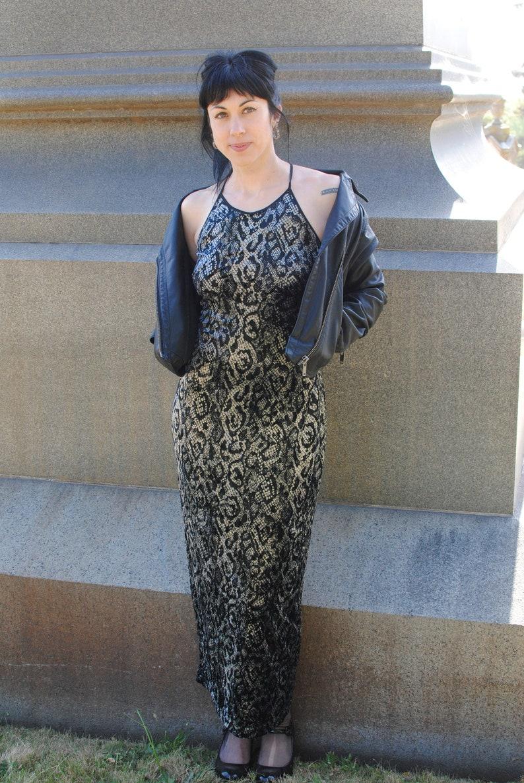 90s velvet python cobra snake print long maxi dress sleeveless spaghetti strap animal print