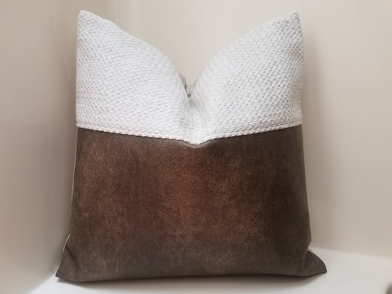 Mudcloth Pillow Cover. Faux Leather