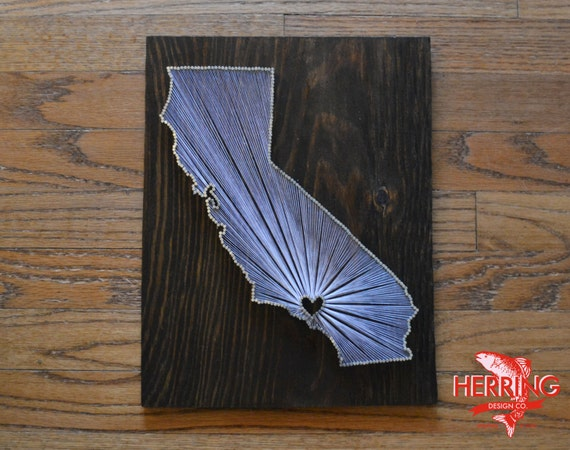 Stained California State String Art Los Angeles California Etsy