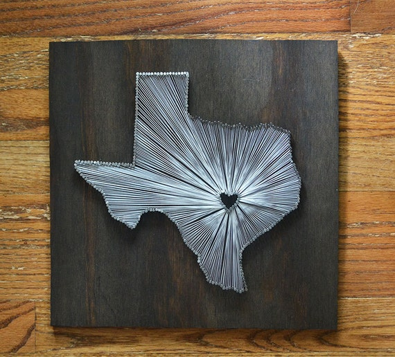 Stained Texas State String Art Austin Texas Stained Nail Etsy
