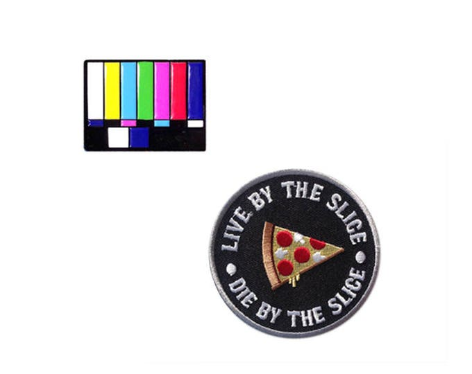 Pizza Party Pin and Patch Set | TV Test Card + Pizza