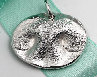 Dog Nose Pendant LARGE Charm Custom made Pet keepsake of pure .999 Fine Silver for Charm Bracelet, Pendant, Necklace