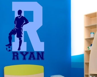 """Soccer Wall Decal with Personalized Name 38"""" Tall x 25"""" Long"""