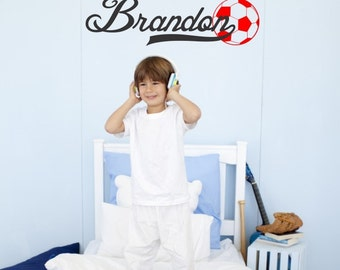 """Soccer Wall Decal with Personalized Name - 27"""" wide by 8"""" high"""