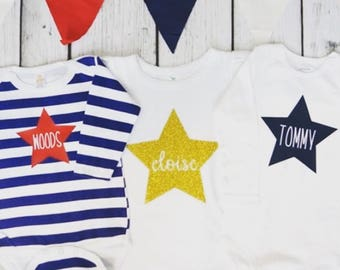 Personalized STAR bodysuits and tee shirts