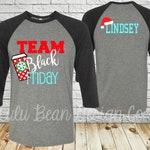 Black Friday Shirt Shirts Personalized Team Baseball Jersey Monogram Shopping T-Shirt Holiday Christmas Tee 3/4 Sleeve Santa