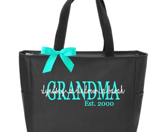 Mother s Day Tote Bag Mom Grandma Grandmother Gift Monogram Monogrammed  Personalized Est 12489fd0f84