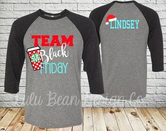 Black Friday Shirt Shirts Personalized Team Baseball Jersey Monogram  Shopping T-Shirt Holiday Christmas Tee 3 4 Sleeve Santa 71614d6d6