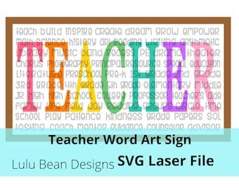 Teacher Word Art Sign Digital Cut File Laser Wood SVG cutting template Glowforge