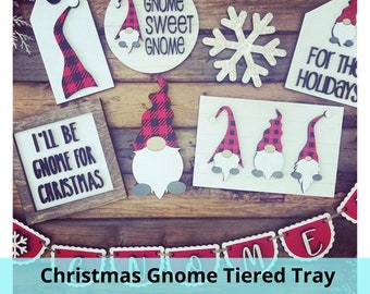 Christmas Gnome for the Holidays Tier Tiered Tray Mini Signs Wood Tag Tags Digital Cut File Laser Wood Cutting svg pdf jpg dxf template
