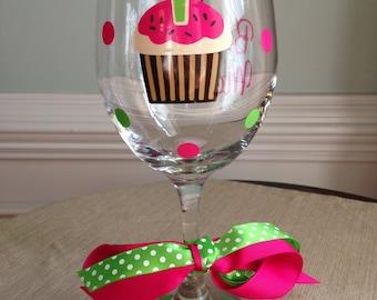 Personalized Cupcake Happy Birthday Wine Glass Gift Teacher Friend