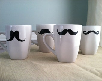 Fun Mustache Coffee Mug Set of two (2) (You pick the mustaches)