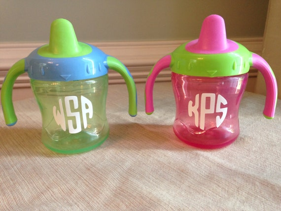 Monogrammed personalized sippy cup decals set of 10