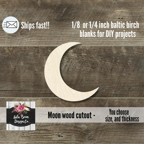 Wooden cutouts MULTIPLE SIZES Cutout Shapes Laser Cut moon crescent Moon shape Unfinished Wood Moon cut out Moon crescent cutouts
