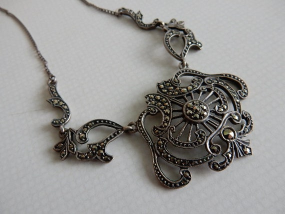 Necklace, Marcasite, Art Nouveau style