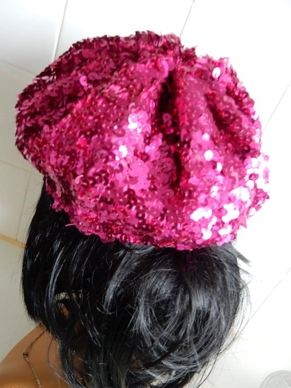 Beret, Pink Sequins, Costume, - image 2