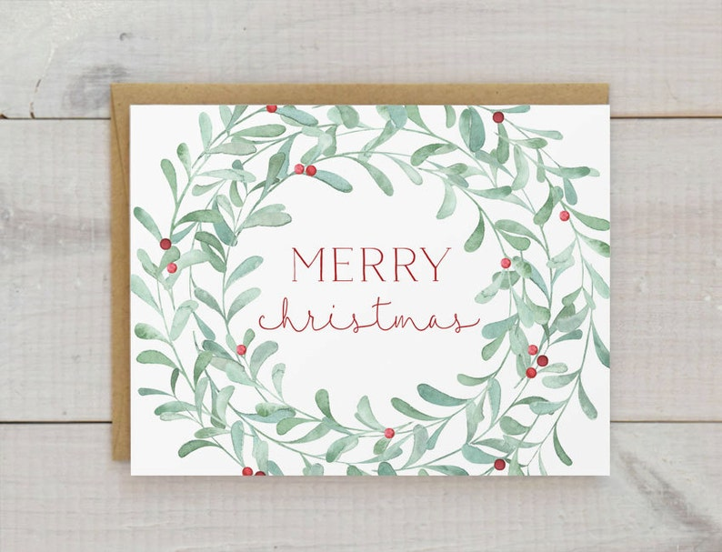 Christmas Cards Christmas Card Set Christmas Wreath Cards Etsy