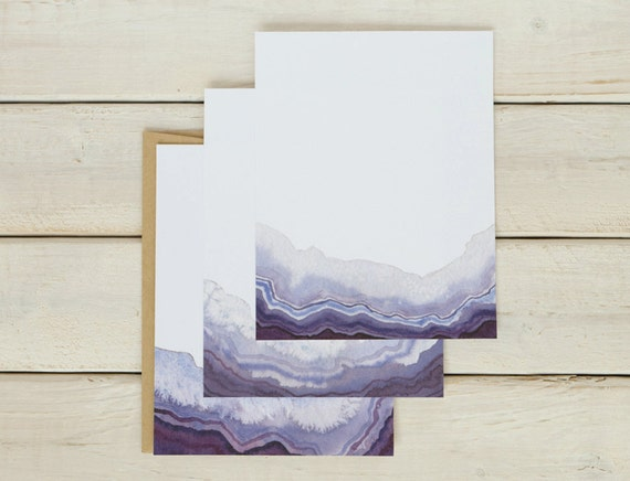 Colorful Stationery Watercolor Stationery Geode Gift Geode Stationery Agate Stationery Geode Notecard Set Geode Cards Birthday Gift