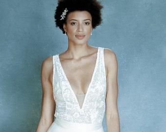 Bridal bodysuit,  bridal separates, bridal top, wedding separates, plunge neckline, V back