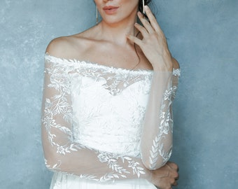 Bridal lace top, Long sleeves, Button back, off-the-shoulders neckline, Lace, Bridal separates, Wedding separates, Bridal, Wedding top,