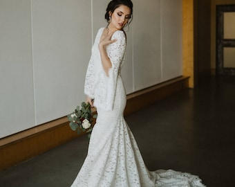 Boho bride all lace fit and flare wedding dress comfortable with beautiful train