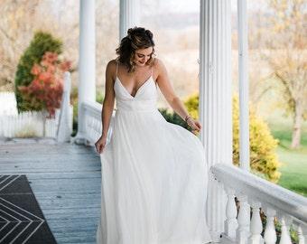 V Neck Wedding Dress Wedding Gown Bridal Gown White Wedding Simple Wedding Boho Wedding Beach Wedding Bridal Dress Backless Dress Open Back