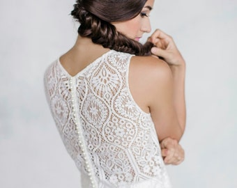 Lace top, Sleeveless, Button back, High neckline, Lace, Separates, Bridal separates, Wedding separates, Bridal, Wedding top, Wedding skirt