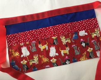 Classroom Apron- cat lover (red & blue)