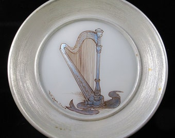 Pair of Circle Silver-Framed Reverse Painted Glass Musical Instruments Harp Mandolin Violin Banjo W Eager Studio Paintings