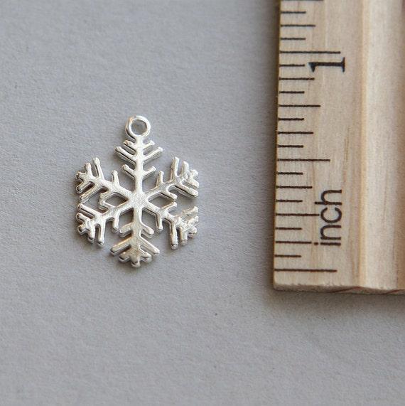 925 argent Sterling charme, flocon de neige breloque, Charm flocon de neige, breloque en argent Sterling Noël flocon de neige, neige charme, 14 x 17mm (1 pièce)