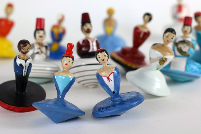 for kids tiny dancer dancer miniature, Dancing Lady spinning top gift for dancer collectible Wooden dreidel woman in blue toy