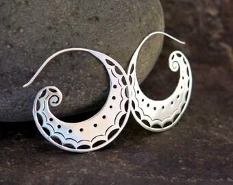 Spiral Moon Silver Earrings