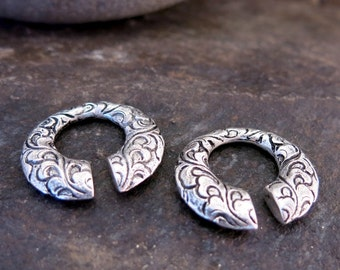 Carved Silver Ear Weights