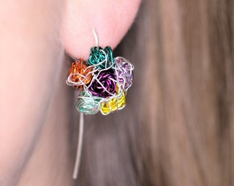 Colorful flower earrings, wire, long post, ear pin, cute, everyday, drop earrings, nature, statement jewelry, Spring birthday gift for her