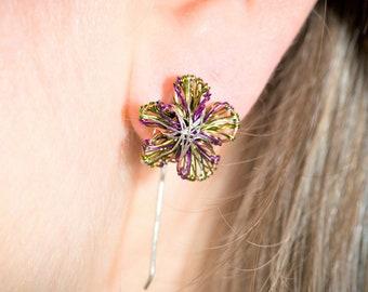 Olive green and purple, artsy, flower earrings