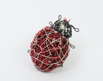 Large ladybug brooch, Wire insects art sculptures, Ladybug inspired jewelry, Ladybird beetle brooch