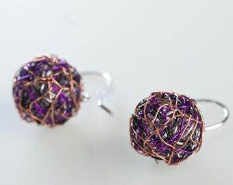 Wire ball earrings Purple earrings Sphere earrings cute Silver Hook earrings Ball drop earrings Art Minimalist earrings Geometric earrings