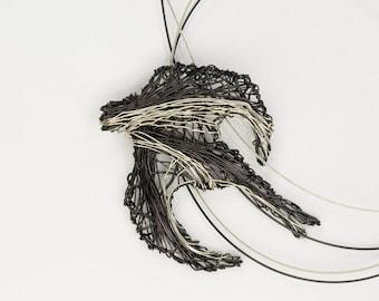Sparrow necklace, Silver sparrow jewelry, Black bird art jewelry, Wire art sculpture necklace unique