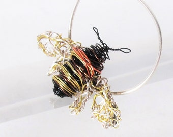 Bee jewelry, honey bee brooch, tiny bee pin, black gold jewelry, wire insect art jewelry, contemporary jewelry unique birthday gifts for her